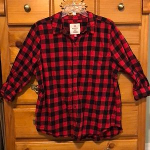 Juniors Red Plaid Soft Flannel